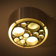 Anonymous; #P1462.20 Flush Mount Aluminum and Textured Glass 'Alliance' Ceiling Light by Raak.