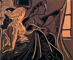 picasso linocuts | Pablo Picasso , Two Women Near a Window (B.924) , hand-signed linocut ...