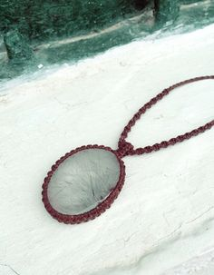 Rutilated quartz necklace Macrame necklace natural by SPIRALICA