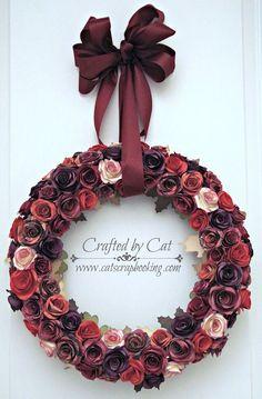 Sangria ~ flower wreath ~ catscrapbooking.com