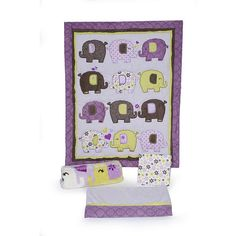 Decorate your babies room with cute and cuddly Elephant friends themed crib set. This adorable quilt features elephant mixed appliques in a variety of prints and fabrics accented with sweet  hearts and flowers. This 4 piece crib set includes 1 36