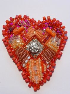 Beaded Hearts Delight All Occasion Gift Brooch by cibjotee on Etsy, $22.00