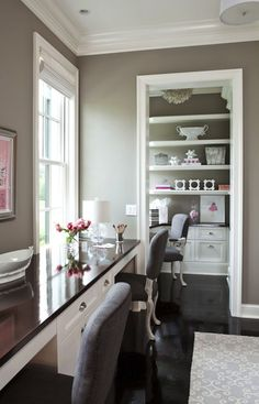 Taupe Paint Color - Contemporary - den/library/office - Benjamin Moore River Reflections - Martha O'Hara Interiors