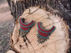 Boho style macrame earrings with brass beads Limited