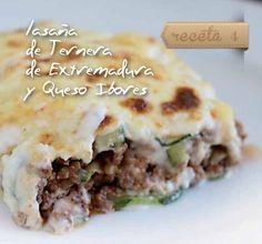 Lasaña de ternera e Extremadura y queso Ibores. Una de las 20 recetas de un recetario muy tentador ➱ http://www.recetascomidas.com/libros-de-cocina/recetas-tentaciones