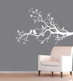 white tree wall decal | Vinyl Wall Art Decal - White Tree Branch With Birds | review ...