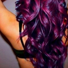 magenta/purple hair color with curls. gorgeous!