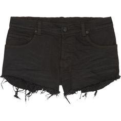 Ksubi Albuquerque cut-off denim shorts ($165) ❤ liked on Polyvore featuring shorts, bottoms, pants, short, black, short and mini, black shorts, denim shorts, mini jean shorts and cut off denim shorts