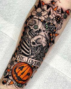 Sweet Tattoos, Love Tattoos, Tattoo You, Beautiful Tattoos, Body Art Tattoos, New Tattoos, Spooky Tattoos, Horror Tattoos, Cute Halloween Tattoos
