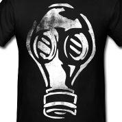 Grunge Gas Mask Graffiti White T-Shirts Design