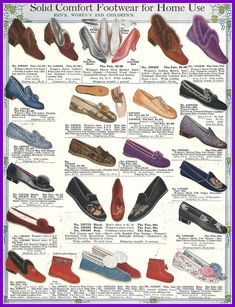 slipper styles for the whole family. Sears catalog, 1916. vintage Edwardian slippers.