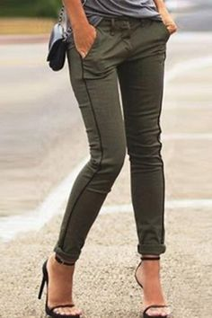 Stylish Mid-Waisted Slimming Pocket Design Women's Pants