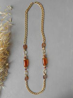 Colllier vintage bijoux sautoir accessoires doré ambre collection mode brocante antique ancien chaine perles long bijouterie parure