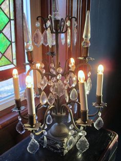 Antique French Girandole Bronze 6 Light Crystal Drops Prisims Marble Base Estate Find Stunning Lamp NO2 by SimplyCottageChic on Etsy