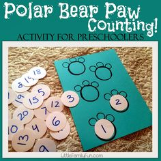 Fun way to practice number order and counting with Polar Bear Paws!