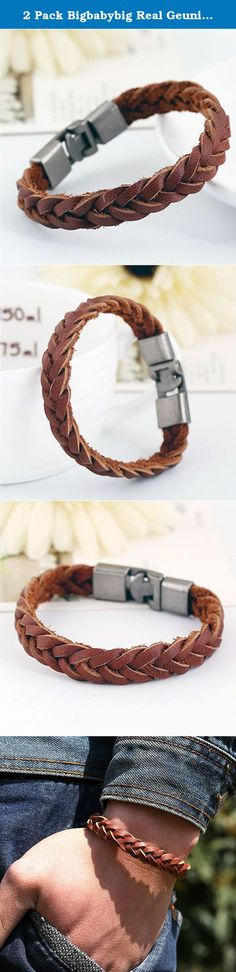 """2 Pack Bigbabybig Real Geunine Leather Cuff Braided Bracelet for Men 8"""" (2pieces). **bigbabybig jewelry shop** Are you having problems with finding the Perfect Leather bracelet on Amazon? If yes, then get this unique real leather bracelet today! With great attention to detail and style, this High Quality real leather Bracelet for Men and Women has been designed to complement your fashion style efficiently. It's simple yet stylishly but classic design features a neatly weaved leather band…"""