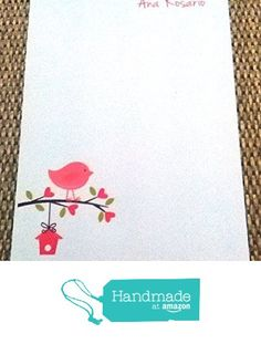 PINK BIRDIE & TREE personalized Notepad from Mis Creaciones by Patricia Chalas http://www.amazon.com/dp/B01ASCUQY4/ref=hnd_sw_r_pi_dp_dnwOwb0RZV1TH #handmadeatamazon