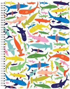 """ecojot Sketchbook, Friendly sharks, 9"""" x 12"""""""