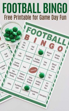 Free printable football bingo game for all ages! Watch the game, mark your cards and win bingo. The perfect Super Bowl party game or a fun family activity for football fans. Includes a set of 8 printable bingo cards for a fun football party game. Football Party Games, Free Football, Football Birthday, Sports Party, Football Fans, Football Season, Manning Football, Football Banquet, Nfl Superbowl