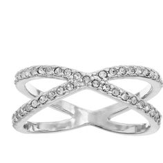LC Lauren Conrad Crisscross Midi Ring (Silver Tone) ($9.80) ❤ liked on Polyvore featuring jewelry, rings, imitation jewelry, silvertone jewelry, lc lauren conrad, midi rings and mid knuckle rings