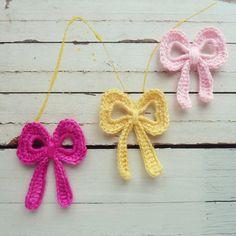 Bow Crochet Applique Pattern tutorial