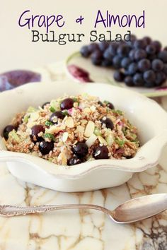 Grape & Almond Bulgur Salad | ShesCookin.com #vegan #recipe