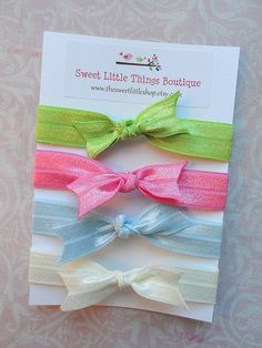 Set of 4 Elastic Hair Bow Ties in Lime Candy by TheSweetLittleShop, $3.50