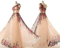 2015 Print Prom Dress Elegant Formal One Shoulder A Line Floor Length Long Chiffon Print Prom Dress 2015 Print Evening Party Dresses