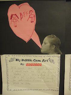 Bubblegum art activity to go with story Lester Fizz, Bubble-Gum Artist.  Cute!