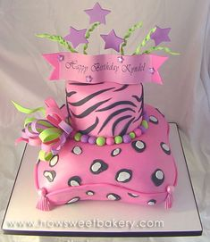 pillow cake with cheetah and leopard and tiger patterns for cheetah girls party