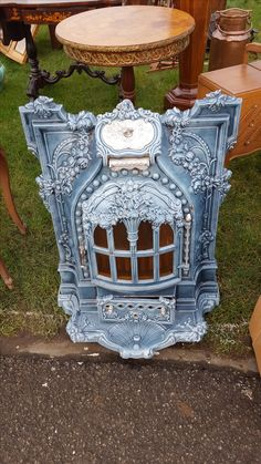 A lovely Antique decorative art nouveau French stove fire just what you need on a cold day looking around at an antique fair !!