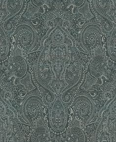 Vaujours (W6014/01) - Osborne & Little Wallpapers - An intricate all-over paisley motif depicted in fine silver relief on dark charcoal grey. Available in 7 colour ways. Please ask for sample for true colour match.