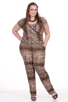 Moda feminina plus size   81806 Macacão animal print em malha