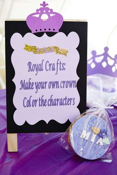 Make your own crown at a Sofia the First birthday party! See more party planning ideas at CatchMyParty.com!