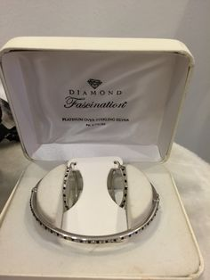 Platinum silver, diamond and black stone bracelet and matching earrings great gift $80