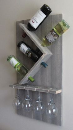 Wine Bottle and Glass Wine Holder Rustic Wall Wine Rack Wine Rack Wall Mounted Best Picture For DIY Wine Rack wire For Your Taste You are looking for something, and it is going to tell you exactly wha Wine Bottle Rack, Wine Rack Wall, Wine Glass Rack, Wall Wine Holder, Beer Bottles, Wine Bottle Holders, Bottle Stoppers, Glass Bottle, Vin Palette