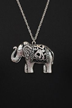 Rustic Elephant Necklace, Silver