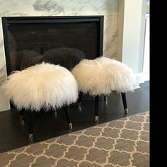 Stool Fur Chair - Black Mongolian Lamb Fur Genuine with Black Legs Composite Adirondack Chairs, Plastic Adirondack Chairs, Fluffy Stool, Faux Fur Stool, Large Chair, Teal Accent Chair, Accent Chairs, Chairs For Rent, Patterned Armchair