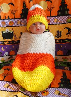 Candy Corn Cocoon Crochet for baby Matching hat by MooreThanBags, $24.95