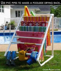 MYO Towel Holder out of PVC pipes- check out this simple idea! http://www.Budget101.com