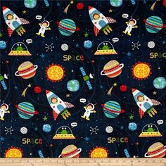 Designed by De Leon Design Group for Alexander Henry, this space themed print is out of this world! Look closely and you can find an astronaut, planets, a shooting star and a satellite. Use this fabric for quilting and craft projects as well as apparel and home décor accents. Colors include navy blue, purple, red, green, orange, gold, yellow and white.