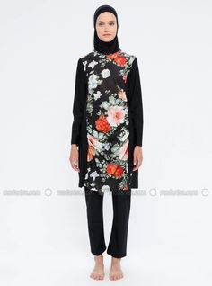 The perfect addition to any Muslimah outfit, shop Adasea's stylish Muslim fashion Black - Floral - Fully Lined - Fully Covered Swimsuits. Find more Fully Covered Swimsuits at Modanisa! Black Swimsuit, Muslim Fashion, Swimsuits, Swimwear, Online Purchase, High Neck Dress, Stylish, Floral, Outfits