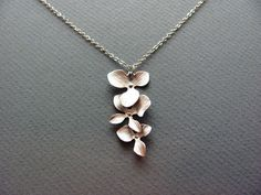 Silver Triple Orchid Cascade Necklace  sterling by ACutieChick, $24.00