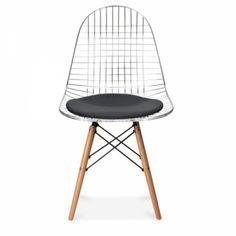 Charles E Style Chromfarbener DKR Drahtstuhl - Charles E von Cult Furniture UK