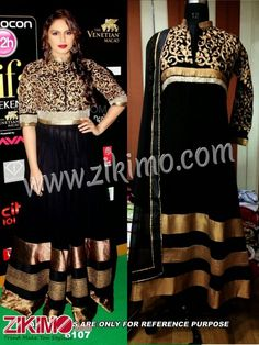 Huma Quereshi Goldena and Black Georgette Anarkali Suit
