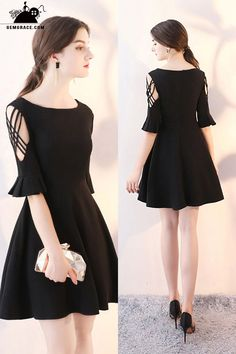 Homecoming Dresses Short Black Flare Aline Homecoming Dress with Sleeves at GemGrace. View more special Special Occasion Dresses,Homecoming . Trendy Dresses, Modest Dresses, Cute Dresses, Short Dresses, Dresses With Sleeves, Formal Dresses, Short Sleeves, Maxi Dresses, Black Dress With Sleeves