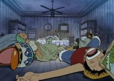 Sleeping Straw Hats while Nami is sick. One Piece #sleeping (Luffy with picture frame in forehead)