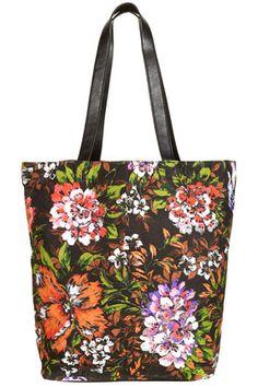 topshop: tropical print shopper bag