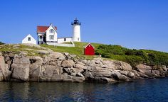 "Nubble Lighthouse; York Beach, Maine; my family went on vacation to York Beach when I was ""little"".  So pretty there."