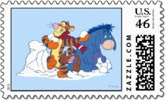 Tigger, Roo and Eeyore have a snowball fight with Winnie the Pooh and Rabbit in the Disney Christmas stamp to the left.